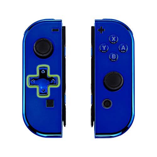 eXtremeRate Case für Nintendo Switch Joycon,Hülle Gehäuse Case Schale Ersatzteile für Nintendo Switch Joycon Controller&kompletter Satz Taste(D-Pad-Version)-Chrome Blau-Keine Console Hülle