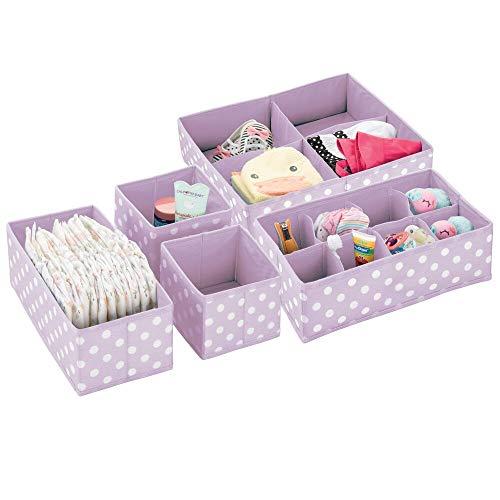 mDesign 5er-Set Kleiderschrank Organizer – die ideale Aufbewahrungskiste für das Kinderzimmer mit mehreren Fächern – flexibel verwendbare Stoffbox in 4 Größen – helllila und weiß