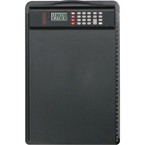 Alassio 0085 - Klemmbrett aus Kunststoff, schwarz, ca. 35 x 23 cm, Brett mit Klemme, Anlegeschiene und abnehmbaren Taschenrechner