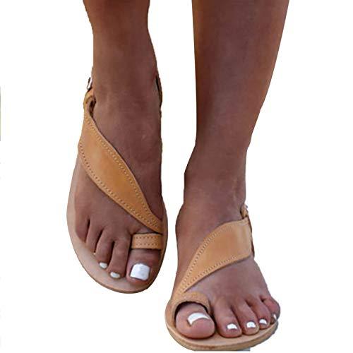 Mihoutao Chanclas de Plataforma para Mujer con Soporte de Arco ortopédico Cómodas Sandalias Planas de Cuero Suave para Vacaciones/Centro Comercial/deambular/reunión (Color : Orange, Size : 41)