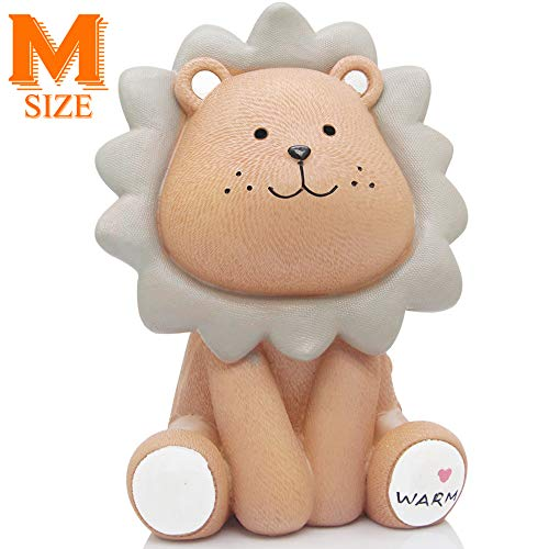 H&W Cute Lion Coin Bank for Kids (Brown), Money Box, Sunny Lion Piggy Bank, Best Gift for Children (WK010-D1)