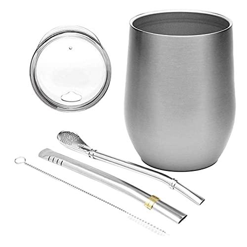 UKKO Taza de té de calabaza Set de doble pared de acero inoxidable taza de agua con tapa popotes cuchara y cepillo-plata