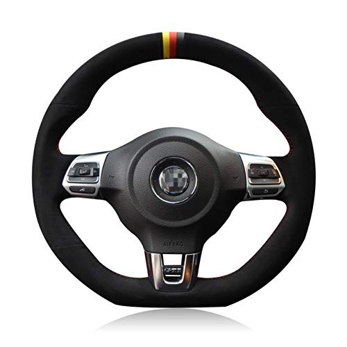 JIRENSHU Cubierta del VolanteRojo Negro, para Volkswagen Golf 6 GTI MK6 Polo GTI Scirocco R Passat CC R-Line