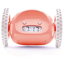 Clocky Alarm Clock on Wheels (Original) | Extra Loud for Heavy Sleeper (Adult or Kid Bed-Room Robot Clockie) Funny, Rolling, Run-Away, Moving, Jumping (Pink)