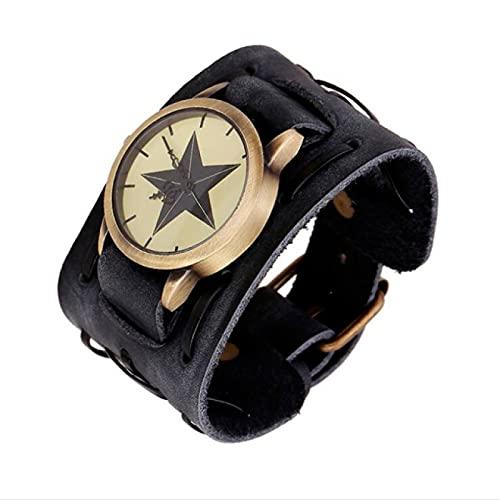 HengYue Relojes de Pulsera Brazalete de Cuarzo Retro Punk Cuff Watch Steampunk Verde PU Pulsera de Aleación de Cuero Cuarzo Analógico Moda Gótica Esfera Grande