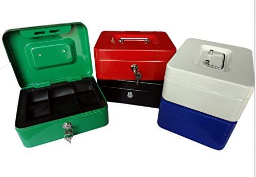 8 Inch Small Steel Cash Box Safty box met afneembare lade en sleutelslot 2 toetsen zwart