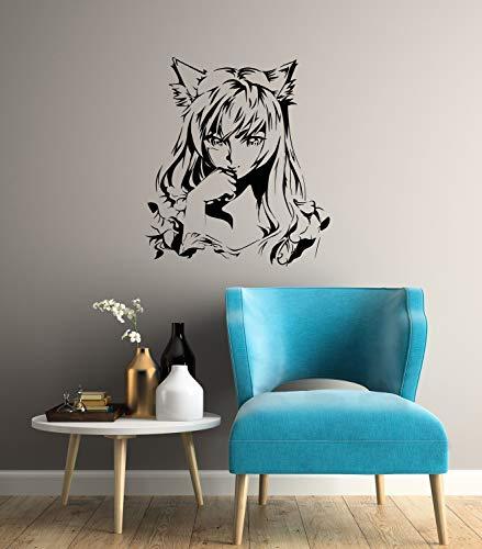 Anime Girl Vinyl Wandtattoo Manga Oriental Kids Teen Room Interior Aufkleber Wandbild 2943di