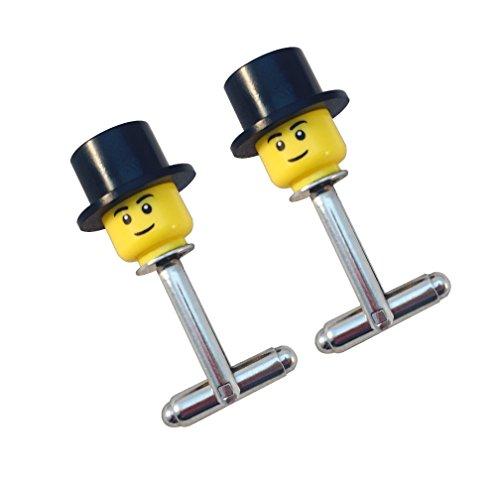 LEGO® Figur Head Top Hat Manschettenknöpfe Hochzeit Groom Best Man Usher Herren Geschenk, Top Hat