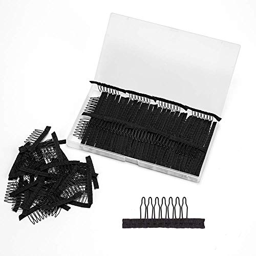 Alileader 100pcs Black Wig Combs for Making Wigs Wig Clips for Wig Cap 7-Teeth Wig Clips Steel Tooth Lace Wig Clips Glueless Wig Clips for Wig