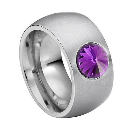 Anillo Heideman Ring Coma 11 de Acero Inoxidable Color Plata Mate para Damas con cristalblanco/Color fantasía Tallado en Piedra Preciosa de 8mm