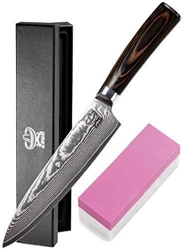 Zeuß XL Küchenmesser Damastmesser (32cm) - Profimesser - 67 Schichten - Damaststahl - Allzweckmesser - Kochmesser - Chefmesser - Santoku