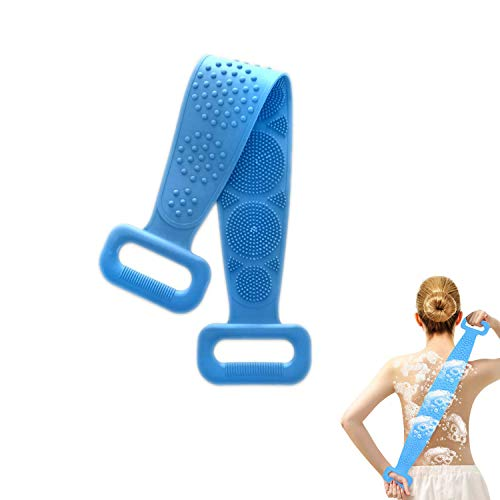 Xglysmyc Silicone Back Scrubber for Shower,Exfoliating Lengthen Silicone Bath Body Brush,Easy to Clean, Lathers Well, Eco-Friendly, Long Lasting Comfortable Massage for Shower(70CM-Blue)
