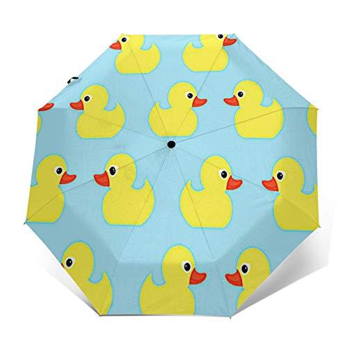 Paraguas Plegable Automático Impermeable Patos Juguete bebé, Paraguas De Viaje Compacto a Prueba De Viento, Folding Umbrella, Dosel Reforzado, Mango Ergonómico