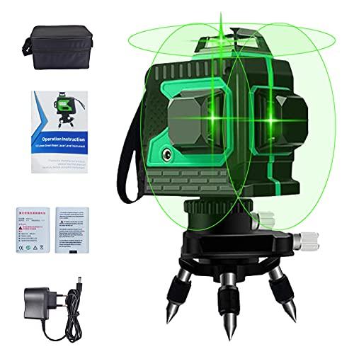 Kreuzlinienlaser Grün 3D 12 Laserlinie 3x360 Grad selbstnivellierend Horizontales und vertikales Kreuz Superstarke Grüne Laserstrahllinie, IP54 Laser Level, 25m Arbeitsbereich, Inklusive 2pcs Batterie