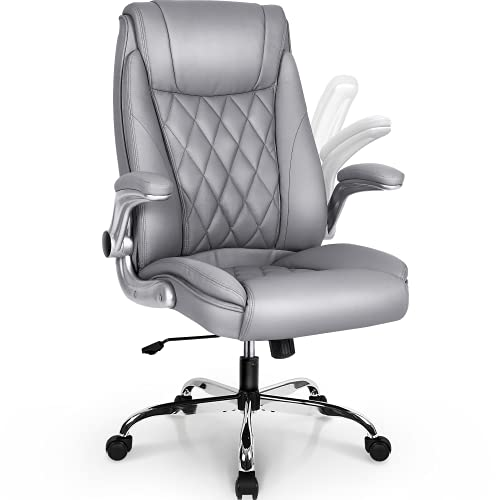 NEO CHAIR Office Chair Computer High Back Adjustable Flip-up Armrests Ergonomic Desk Chair Executive Diamond-Stitched PU Leather Swivel Task Chair with Armrests Lumbar Support (Grey)