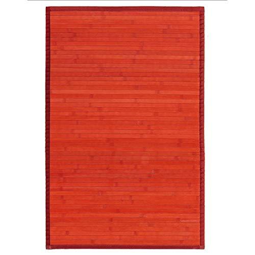 Alfombra de Salón o Comedor, Roja, de Bambú Natural 60 X 90cm Natur, 60x90 - Hogar y Más