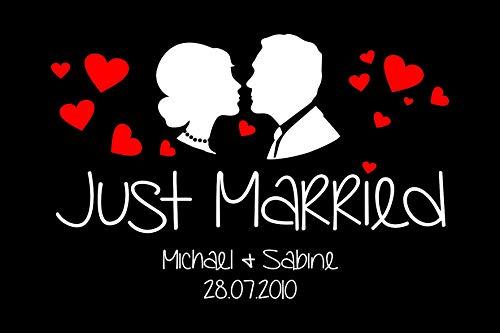 Tassenliebe® - Deine personalisierte Fussmatte mit Gummirand Just Married - mit Name und Hochzeitsdatum, für Innen und Aussen, rutschfest, Fussabtreter, Türmatte, Hochzeitsgeschenk (60 x 40 cm)