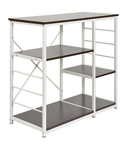 ts-ideen Standregal Hochregal MDF und Eisengestell Regal Holzoptik Küchen-Regal Mikrowellenhalter 84,5 x 90 cm