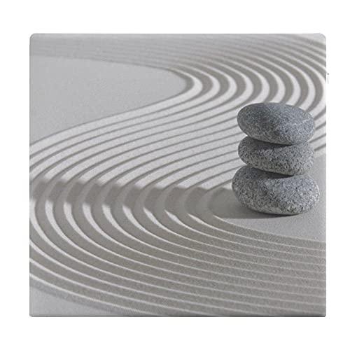 Cojines de Suelo Cuadrados,Cojín de Asiento de cojín de Silla,Jardín Zen japonés con Piedras apiladas en la Arena rastrillada,Sentado para Oficina,hogar,Suave Espesar