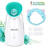 YOHOOLYO Aromatherapy Facial Steamer Warm Mist Spa Face Steamer Moisturizing Humidifier Atomizer with Essential Oil Box, Cotton Piece and Head Band