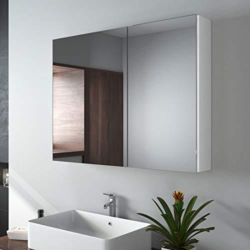 EMKE Spiegelschränke, 85x65cm Bad Spiegelschrank Badschrank mit Doppelseitiger Spiegel (Weiß)