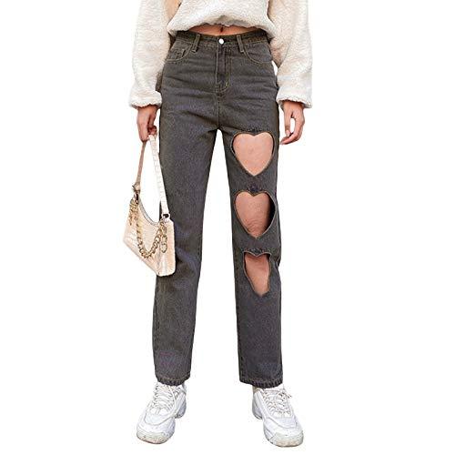 Pantalones vaqueros atractivos del agujero de las mujeres, pantalones huecos del color sólido de los adultos con el lazo del cinturón del bolsillo