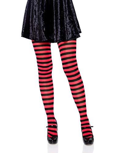 Leg Avenue Women's Plus Size Nylon Striped Tights, Black/Red, 1X / 2X