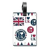 Etiqueta de identificación para Maleta con Texto en inglés «I Love UK» de la Bandera del Reino Unido