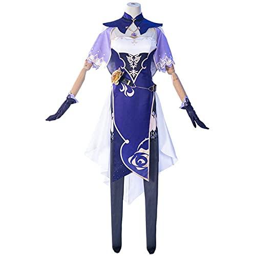 AEKE Juego de las mujeres Genshin Impact Lisa Cosplay Disfraz Lisa Lolita Vestido Cheongsam Conjunto completo Lisa Halloween precioso regalo de cumpleaños S