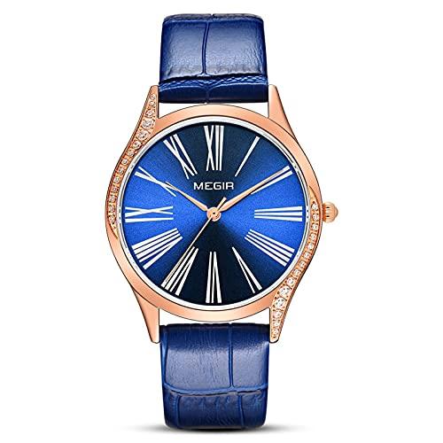 CYONGYOU Ladies Watch Fashion Retro Diamond Imported Core Quartz Watch Blue Rose Shell Blue Belt