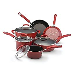 Rachael Ray Classic Brights Hard Enamel Nonstick 10-Piece Cookware Set, Red