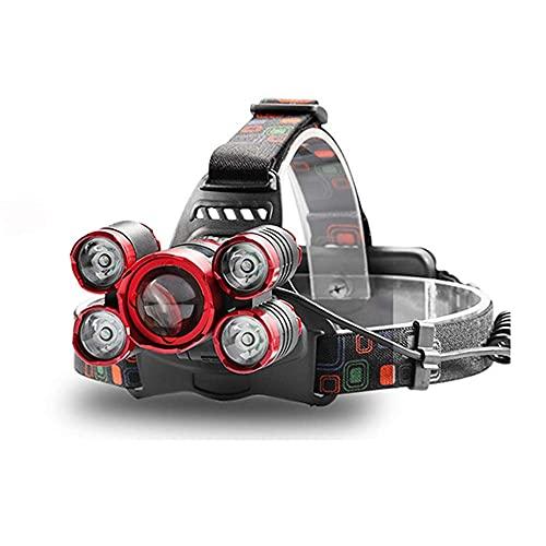 Faros delanteros LED recargables, súper brillantes con zoom, 4 modos de iluminación, con luz roja para camping, senderismo, ciclismo, pesca, construcción (color: 5 LEDs zoom) SKYJIE (color 5 LED zoom)
