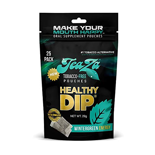 TeaZa Herbal Energy Pouch - Tobacco Alternative | 25 Pouch Pack | Wintergreen Energy