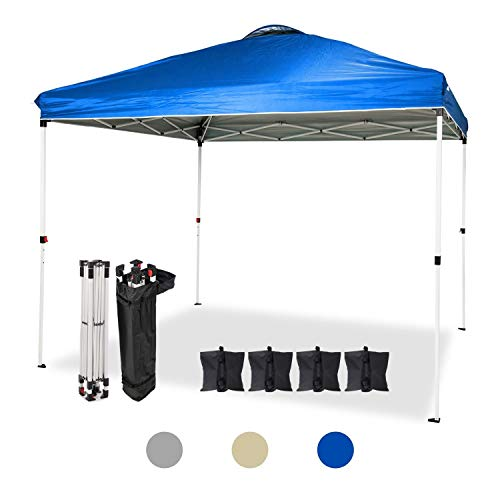 Dawsons Living Waterproof Premium Garden Gazebo - Heavy Duty Pop Up Outdoor Garden Shelter - PVC Coated - Travel Bag and 4 Leg Weights - 3m x 3m (Blue)