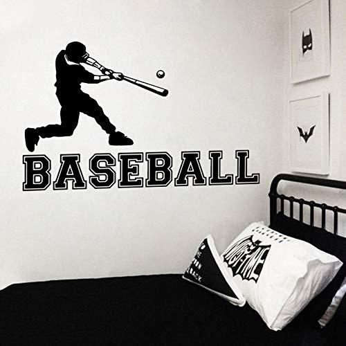 Baseball Player Wandaufkleber Sport Athletic Vinyl Wandtattoo Jungen Zimmer Wandbild Gym Sport Decor Baseball Player Aufkleber 91x57 cm