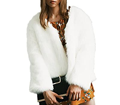 Kevins Bridal Womens Fashion Long Sleeve Faux Fur Jacket Soft Fur Fluffy Winter Coat Ivory from