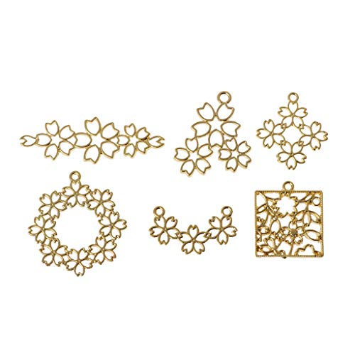 BUZHI - 6 colgantes de aleación con bisel abierto, diseño de flor de cerezo con lazo para manualidades de resina UV, color dorado