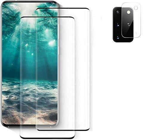 FQDDZ Panzerglas Schutzfolie für Samsung Galaxy S20+ / S20 Plus [2 Stück],+Linse Schutzfolie, 3D Vollständige Abdeckung, 9H Festigkeit, Anti-Kratzen für Samsung Galaxy S20+ / S20 Plus, (6.7