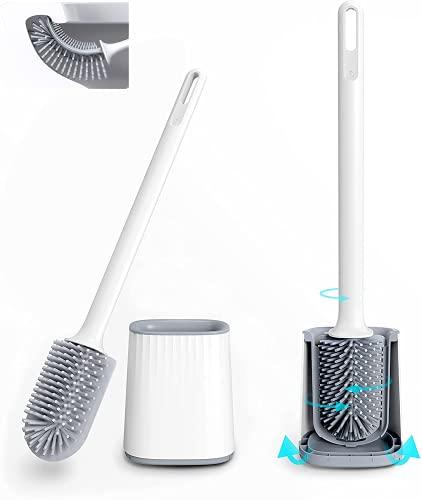 Toilettenbürste Silikon Antibakterielle Doppelseitig WC-Bürste und Behälter WC-Garnitur für Badezimmer mit Schnell Trocknendem Haltersatz