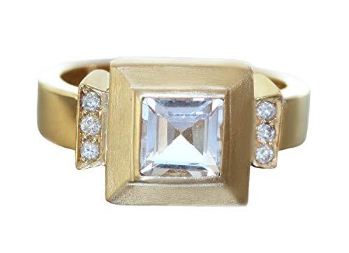 Hobra-Gold RW 53 - Anello in oro 585 con cristallo di rocca e brillanti