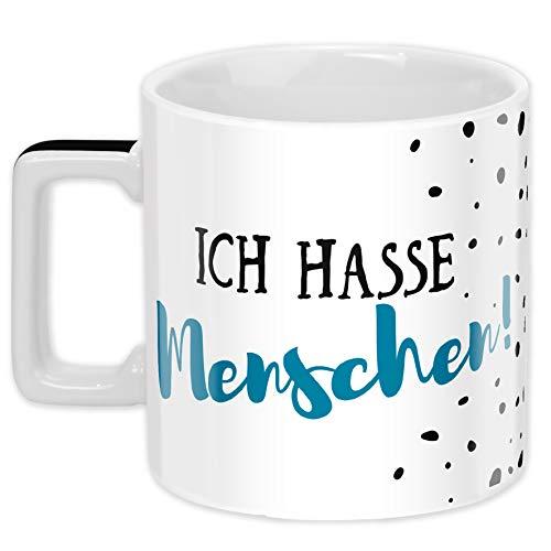 Sheepworld Wortheld-Tasse 45919, Tasse mit Spruch Ich hasse Menschen, Porzellan, 45 cl, schwarz-weiß