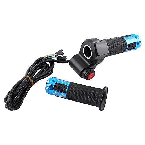 Tamburo acceleratore per Bici elettrica Torsione, 12V 24V 36V 48V 60v 72v Scooter Elettrico Bici Twist Grip Throttle con Display LED Maniglia Schermo per Bici elettrica(Blu)