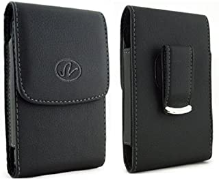 Vertical Leather Black Swivel Belt Clip Pouch Holster Case For BlackBerry Z3 Z30 A10 Fits with Otterbox Commuter/Defender or Thick Armor Hybrid Case On Cover Fit / Over Size / XL / XXL)