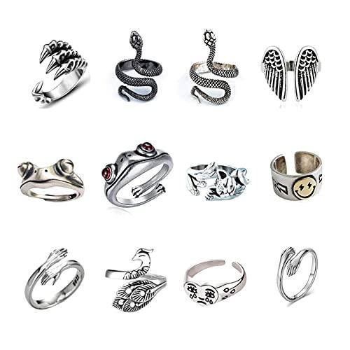 JOLIGAEA 12 Stück Vintage Punk Rings Set, Tier Offene Einstellbare Ringe, versilberte gotische Stapelringe für Frauen Männer Mädchen, Hippie Frosch Schlange umarmen Katze Lucky Face Ringe für Paare
