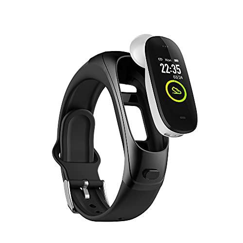 2021 - Pulsera inteligente deportiva 2 en 1 con auricular BT con pulsómetro, impermeable, rastreador de actividad 2 en 1, compatible con llamadas de audio/música para Android e iOS (negro)