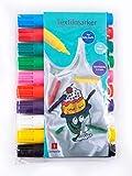 Jamasia 999202-10er Textilmarker Set zum Bemalen von Stoff