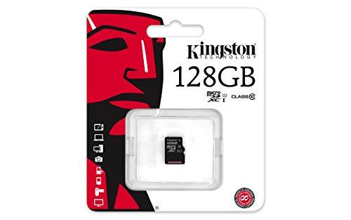 Kingston Flash Card MicroSDXC da 128 GB, Class 10, w/o Adattatore, Nero
