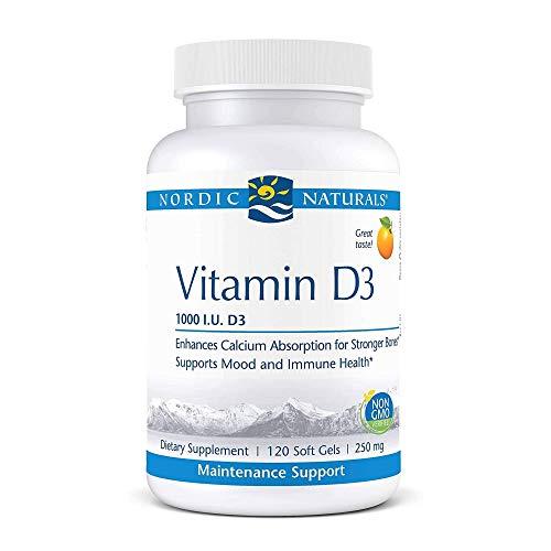Nordic Naturals Pro Vitamin D3, Orange - 1000 IU Vitamin D3 - 120 Mini Soft Gels - Supports Healthy Bones, Mood & Immune System Function - Non-GMO - 120 Servings