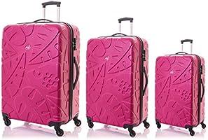 Kamiliant by American Tourister Pinnado Hardside Spinner Luggage Set of 3, with TSA Lock - Magenta