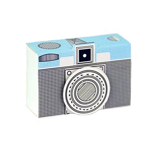 50pz Principe Bomboniere Retro Plaid Macchina Fotografica Vintage carta kraft Candy scatole regalo, Scatole Cubo Portaconfetti Segnaposto Blu